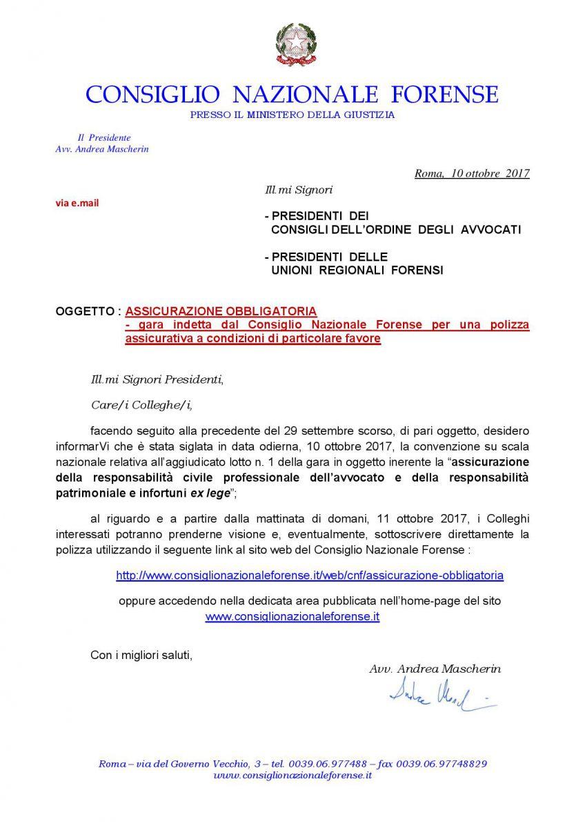 cnf : assicurazione obbligatoria - aggiudicata la gara indetta per